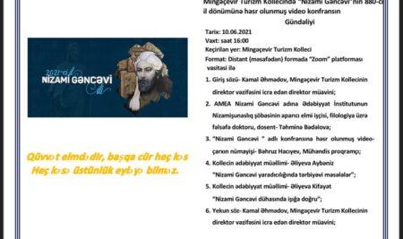 """Mingəçevir Turizm Kollecində """"Nizami Gəncəvi""""nin 880-ci il dönümünə həsr olunmuş video-konfrans keçirilmişdir."""